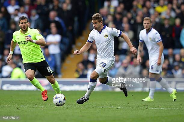 Gaetano Berardi of Leeds United FC controls the ball during the Sky Bet Championship match between Leeds United and Brighton Hove Albion at Elland...