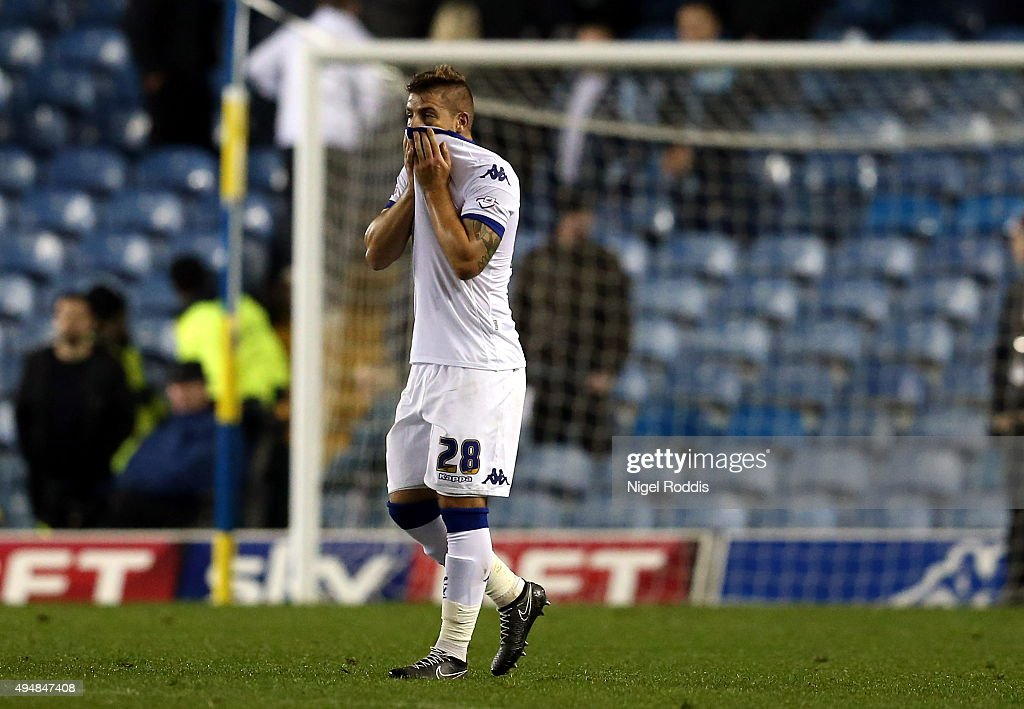 Gaetano Berardi of Leeds United reacts after the Sky Bet Championship match between Leeds United and Blackburn Rovers on October 29, 2015 in Leeds, United Kingdom.