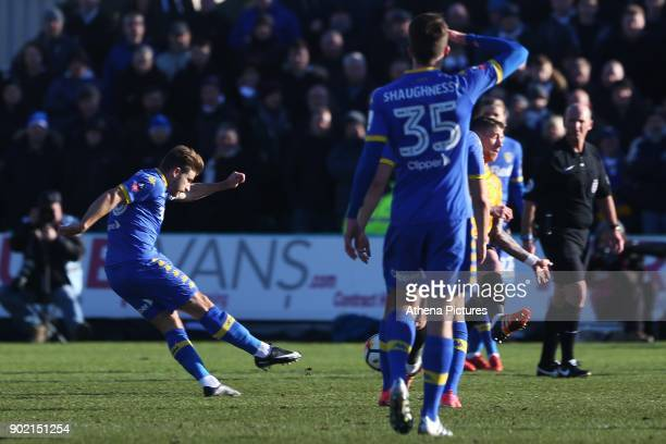 Gaetano Berardi of Leeds United scores his sides first goal of the match during the Fly Emirates FA Cup Third Round match between Newport County and...