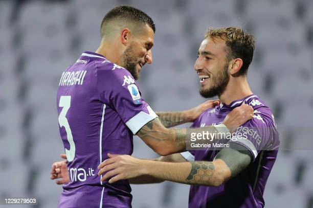 Gaetano Castrovilli of ACF Fiorentina celebrates after scoring a goal during the Serie A match between ACF Fiorentina and Udinese Calcio at Stadio...