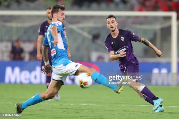 Gaetano Castrovilli of ACF Fiorentina kicks the ball during the Serie A match between ACF Fiorentina and SSC Napoli at Stadio Artemio Franchi on...