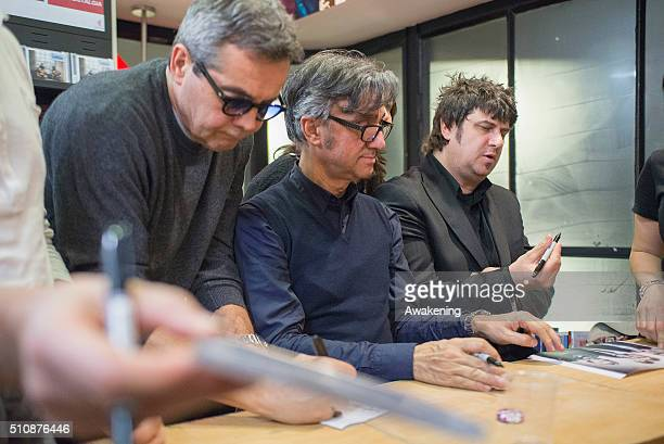 Gaetano Curreri Fabio Liberatori of Stadio are seen during the presentation of their new album 'Miss Nostalgia' on February 17 2016 in Turin Italy
