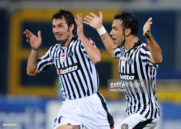 Gaetano D'Agostino and Fabio Quagliarella of Udinese celebrate a goal during the Serie A match between Catania and Udinese at the Stadio Massimino on...