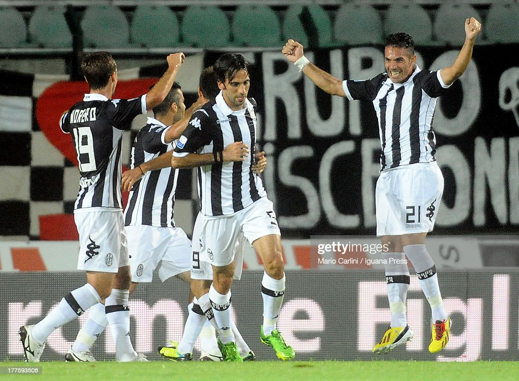 Gaetano D'agostino #21 of AC Siena celebrates after scoring the opening goal during the Serie B match between AC Siena and FC Crotone at Stadio Artemio Franchi on August 24, 2013 in Siena, Italy.