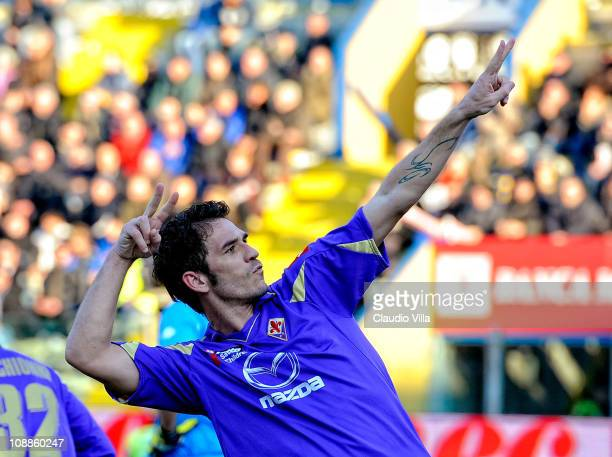 Gaetano D'Agostino of ACF Fiorentina celebrates scoring the first goal during the Serie A match between Parma FC and ACF Fiorentina at Stadio Ennio...