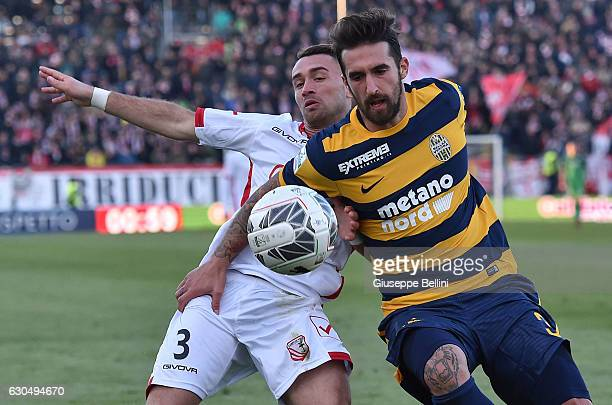 Gaetano Letizia of Carpi FC and Antonio Caracciolo of Hellas Verona FC in action during the Serie B match between Carpi FC and Hellas Verona FC at...