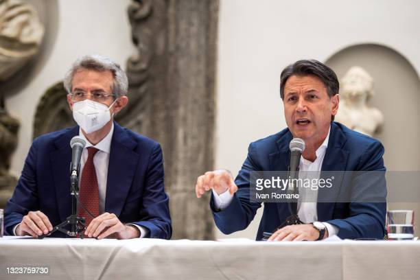 Gaetano Manfredi and Giuseppe Conte and attend the press conference with the mayoral candidate of Naples Gaetano Manfredi on June 15, 2021 in Naples,...