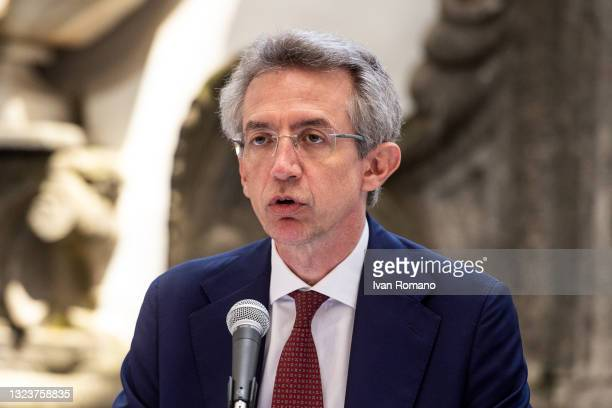 Gaetano Manfredi attends the press conference on June 15, 2021 in Naples, Italy. The political head of the 5 Star Movement and former Prime Minister...