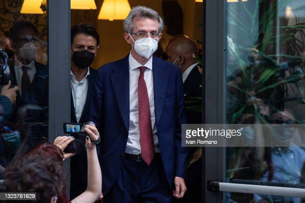 Gaetano Manfredi during the press conference on June 15, 2021 in Naples, Italy. The political head of the 5 Star Movement and former Prime Minister...