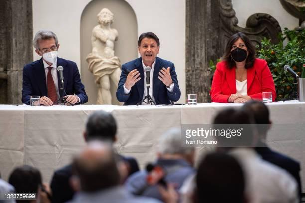 Gaetano Manfredi, Giuseppe Conte and Valeria Ciarambino attend the press conference with the mayoral candidate of Naples Gaetano Manfredi on June 15,...