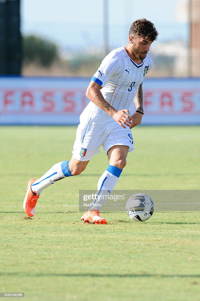 Gaetano Monachello Kicks The Ball During Under 21 Football Friendly Match Italy Vs Lupa Roma At