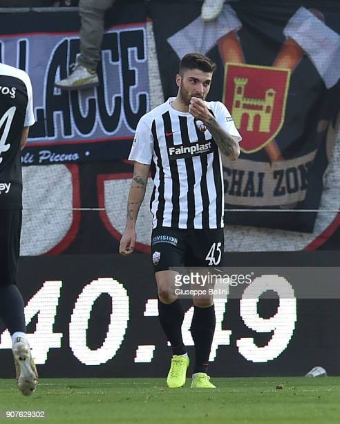 Gaetano Monachello of Ascoli Picchio FC 1898 celebrates after scoring the opening goal during the serie B match between Ascoli Picchio and AS...