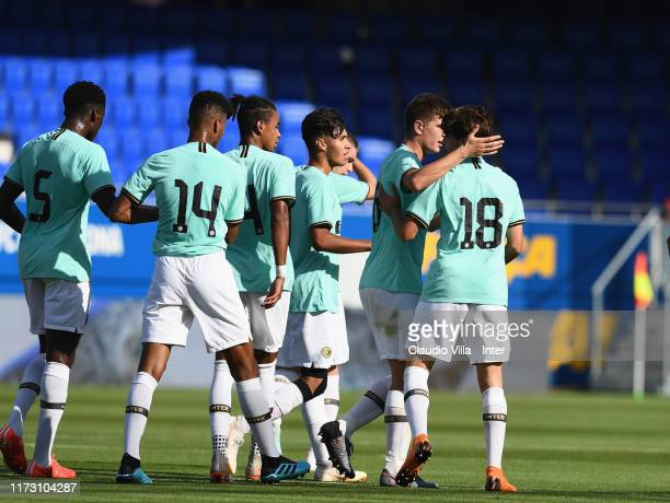 Gaetano Oristanio of FC Internazionale celebrates after scoring the opening goal during the UEFA Youth League match between FC Barcelona and FC...