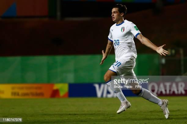 Gaetano Oristanio of Italy celebrates a scored goal during the FIFA U17 Men's World Cup Brazil 2019 match Ecuador and Italy at Kleber Andrade Stadium...