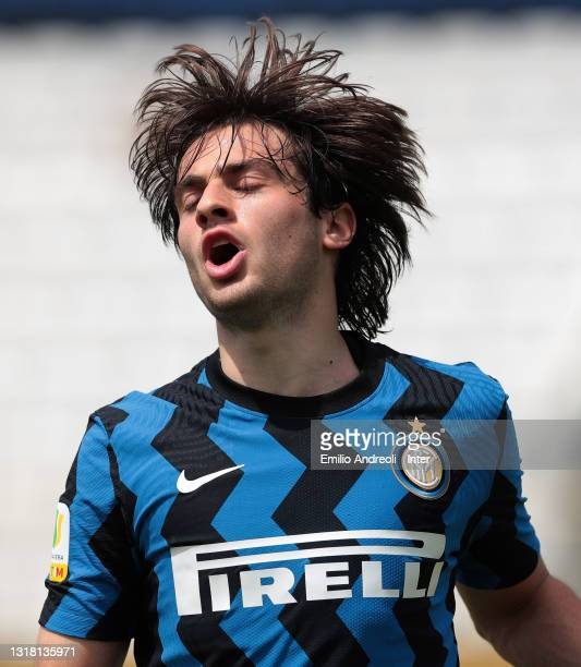 Gaetano Pio Oristanio of FC Internazionale reacts after misses a chance of a goal during the Primavera 1 TIM match between FC Internazionale U19 and...
