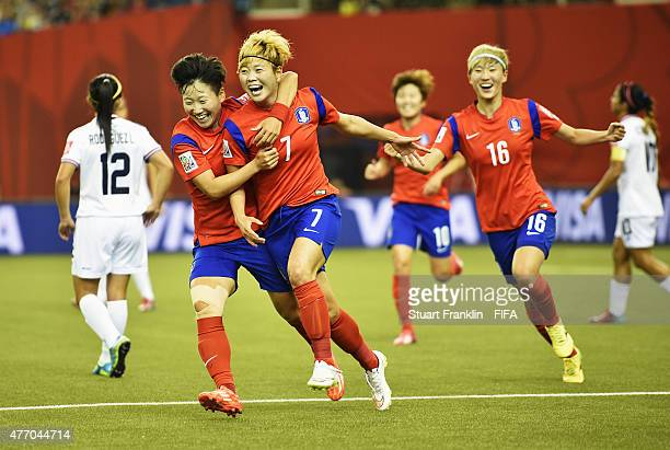 MONTREAL QC JUNE Gaeul Jeon of Korea celbrates scoring her goal with Hahnul Kwon of Korea during the FIFA Women's Wolrd Cup Group E match between...