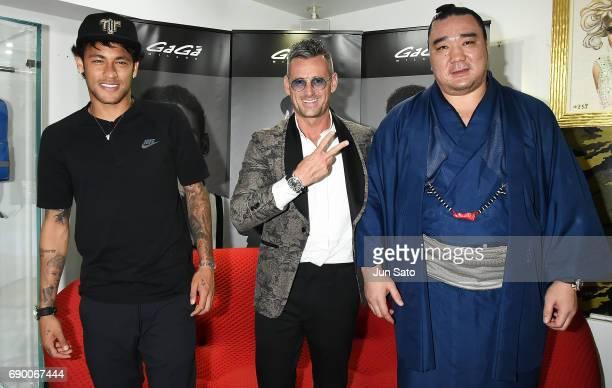 Gaga Milano president Ruben Tomella Neymar Jr and Mongolian yokozuna Harumafuji attend the Neymar Jr x Gaga Milano Watch Collection Press Event at...