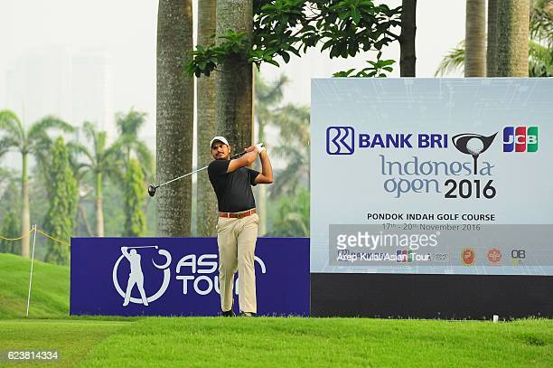 Gaganjeet Bhullar of India plays a shot during round one of the BANK BRIJCB Indonesia Open at Pondok Indah Golf Course on November 17 2016 in Jakarta...