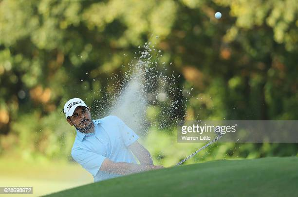 Gaganjeet Bhullar of India plays out of the 15th greenside bunker during the second round of the USB Hong Kong Open at The Hong Kong Golf Club on...