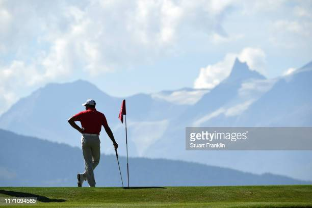 Gaganjeet Bhullar of India prepares to play a putt on the 7th hole during Day Two of the Omega European Masters at CranssurSierre Golf Club on August...