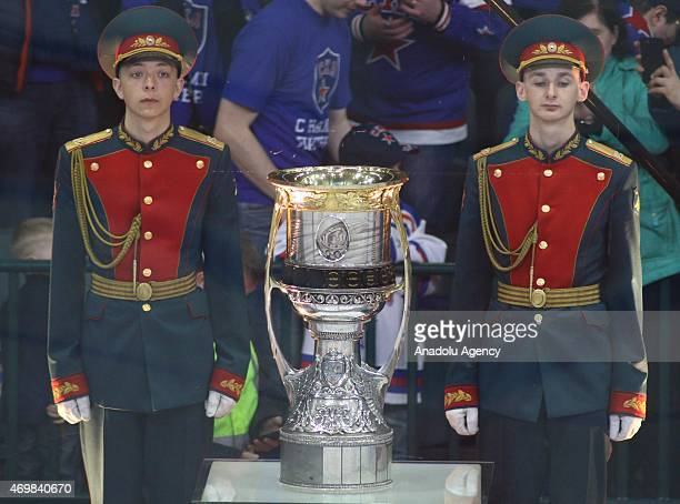 Gagarin cup during the 3rd match of final series of Gagarin cup between SKA StPetersburg and AK Bars Kazan at the Ice palace in SaintPetersburg...