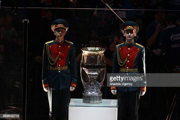 Gagarin cup during the 3rd match of final series of Gagarin cup between SKA St.-Petersburg and AK Bars Kazan at the Ice palace in Saint-Petersburg ,...