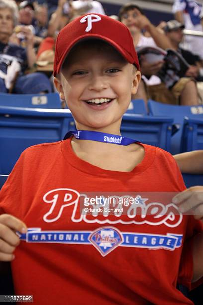 Gage Broderick of Cape Coral Florida shows off his Philadelphia Phillies Tshirt before the start of Game 1 of the World Series between the Tampa Bay...