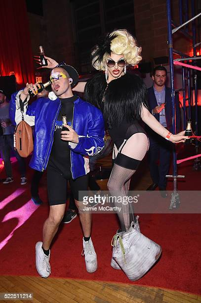 gage of the boone and Aquaria attend the Marc Jacobs Eyewear launch of #MJscreamteam celebrating the Spring 2016 Collection on April 19 2016 in New...