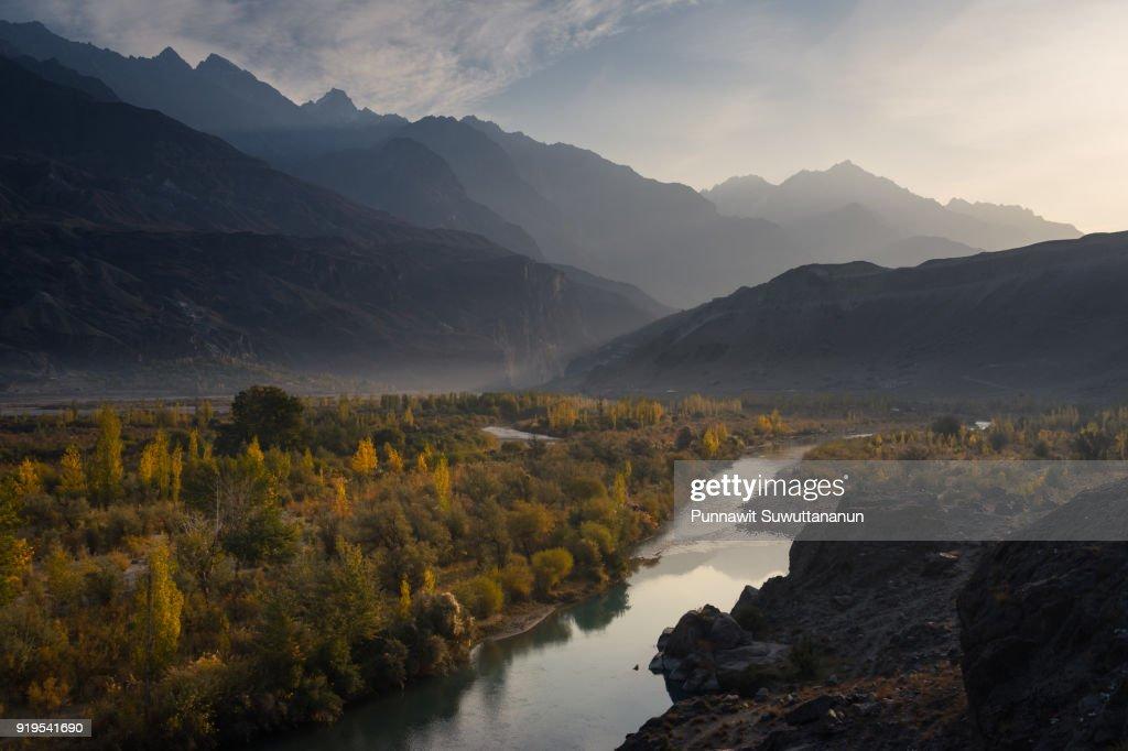 Gahkush valley in autumn in a morning sunrise, Ghizer district, Gilgit Baltistan, Pakistan : Stock Photo