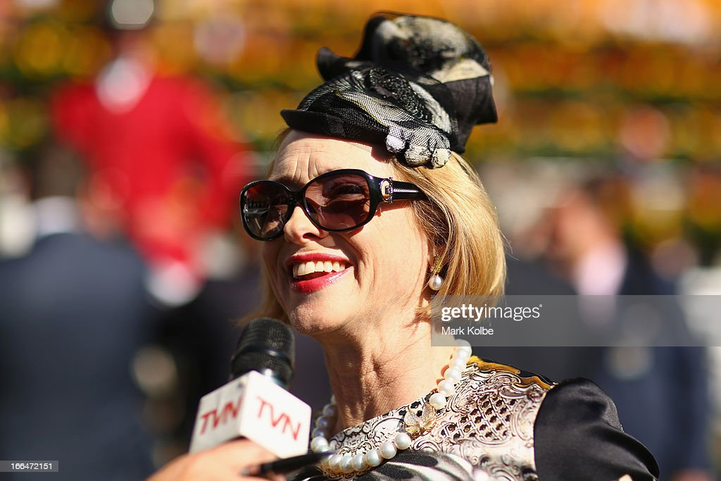 Gai Waterhouse speaks to the media in the mounting yard on Australian Derby Day at Royal Randwick Racecourse on April 13, 2013 in Sydney, Australia.