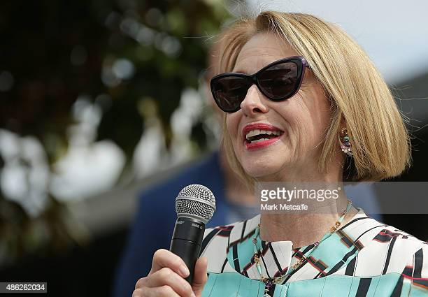 Gai Waterhouse talks during the 2015 Sydney Spring Carnival launch at Royal Randwick Racecourse on September 3 2015 in Sydney Australia
