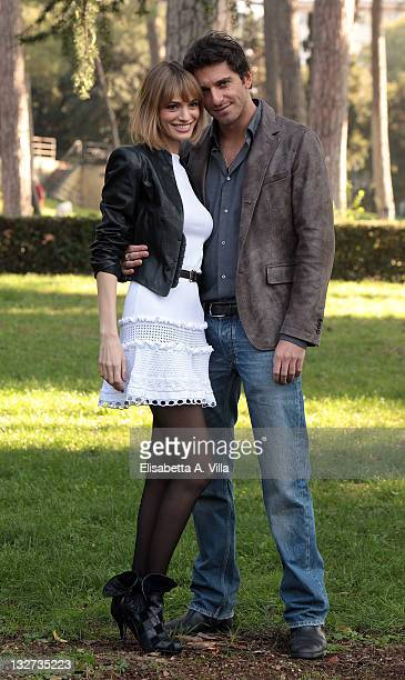 Gaia Bermani Amaral and Giampaolo Morelli attend 'Baciati Dall'Amore' TV series photocall at Casa del Cinema on November 14 2011 in Rome Italy