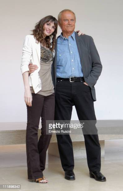 Gaia Bermani Amaral and Terence Hill attend the Un Passo Dal Cielo photocall at Auditorium Ara Pacis on April 8 2011 in Rome Italy