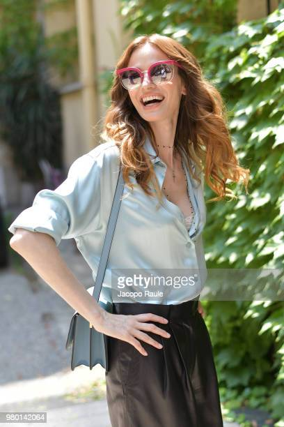 Gaia Bermani Amaral is seen wearing total look Salvatore Ferragamo on June 19 2018 in Milan Italy
