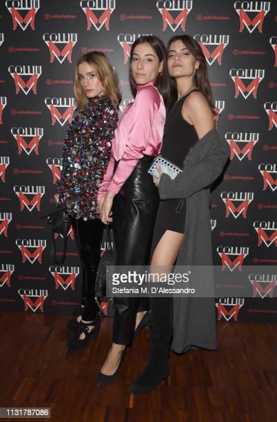 Gaia Fratini Greta Tordini and Margherita Corteletti attend Collini Unminimal Party Milan Fashion Week Autumn / Winter 2019/20 on February 20 2019 in...