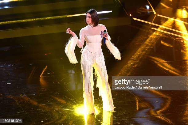 Gaia Gozzi is seen on stage at the 71th Sanremo Music Festival 2021 at Teatro Ariston on March 03, 2021 in Sanremo, Italy.