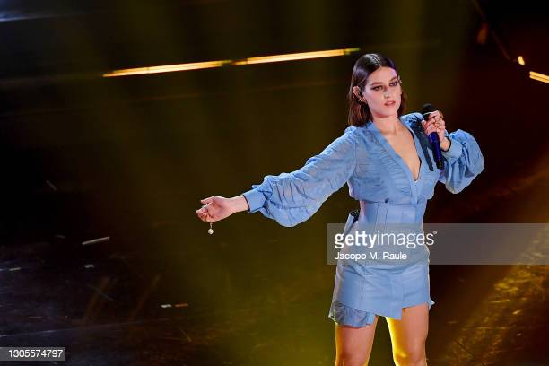 Gaia Gozzi is seen on stage during the 71th Sanremo Music Festival 2021 at Teatro Ariston on March 05, 2021 in Sanremo, Italy.