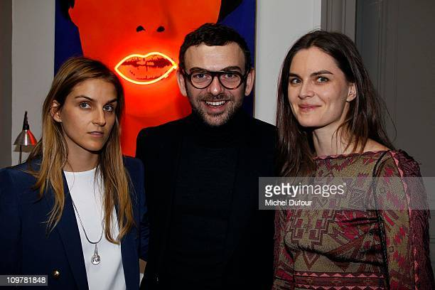 Gaia Reposi, Francesco Russo and Anouck Lepere attend the dinner party after opening newshop Sergio Rossi on March 4, 2011 in Paris, France.