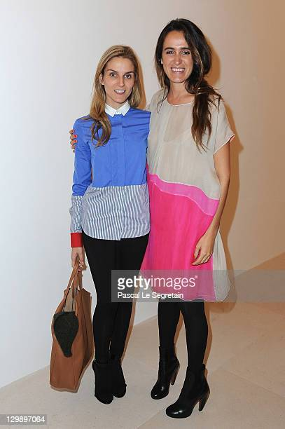 Gaia Repossi and Cornelia Brandolini attend the launch of the 6th issue of TAR Magazine at Gagosian Gallery on October 21 2011 in Paris France