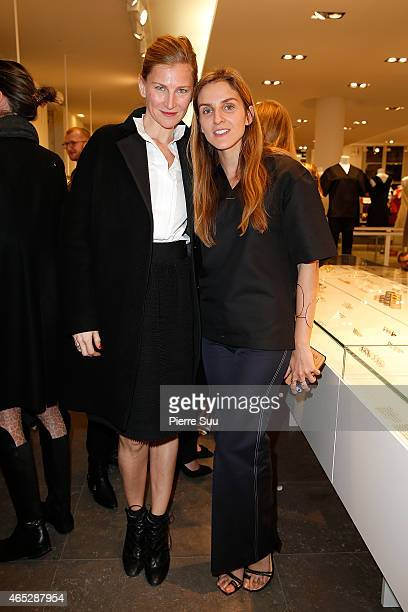 Gaia Repossi and Elizabeth Von Guttman attend the Repossi for Colette Coktail Party at Colette on March 5 2015 in Paris France