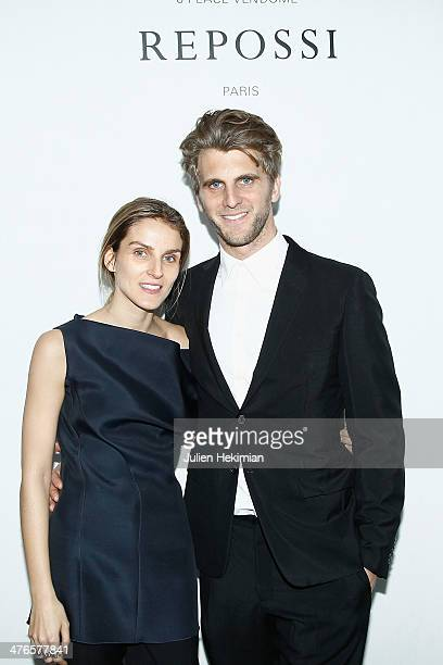 Gaia Repossi and Jeremy Everett attend the Gaia Repossi's Jewelry Collection launch at Jeu de Paume as part of the Paris Fashion Week Womenswear...