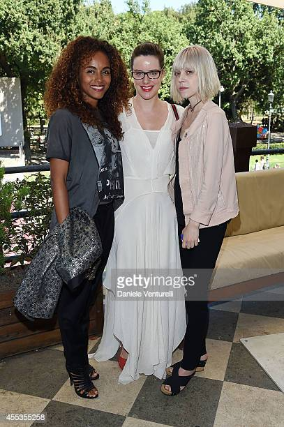 Gaia Scodellaro Michelle Ryan and Antonia CampbellHughes attends press conference of 'ANDRON THE BLACK LABYRINTH' by AMBI Pictures at Casa del Cinema...