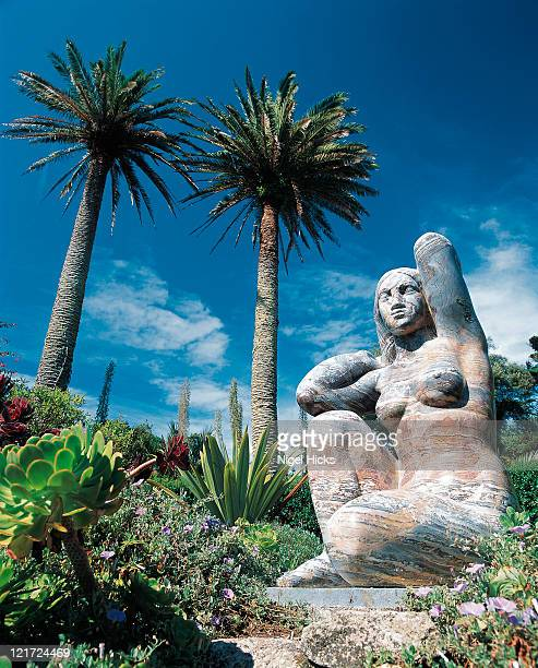 gaia statue with palms at abbey garden - isles of scilly stock pictures, royalty-free photos & images
