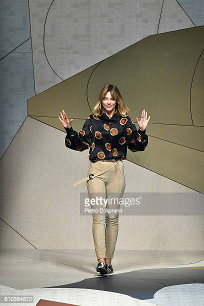 Gaia Trussardi acknowledges the applause of the audience at the Trussardi show during Milan Fashion Week Spring/Summer 2017 on September 25, 2016 in...