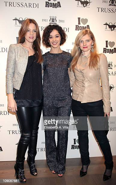 Gaia Trussardi actress Nicole Grimaudo and Beatrice Trussardi attend I Love Roma Trussardi 1911 Flagship Store Opening Cocktail Party on February 14...