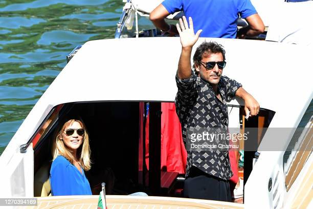 Gaia Trussardi and Adriano Gianini are seen leaving from the Excelsior during the 77th Venice Film Festival on September 03, 2020 in Venice, Italy.