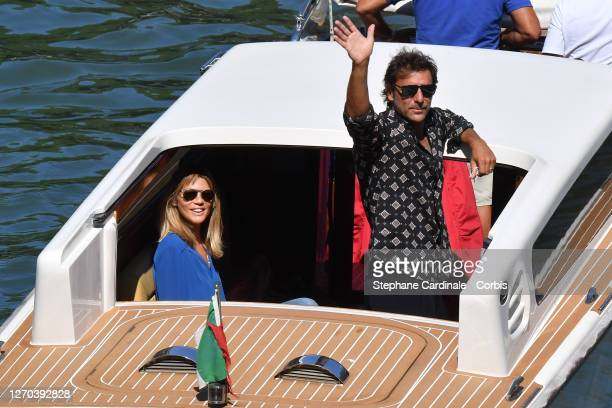 Gaia Trussardi and Adriano Giannini are seen arriving at the Excelsior during the 77th Venice Film Festival on September 03, 2020 in Venice, Italy.