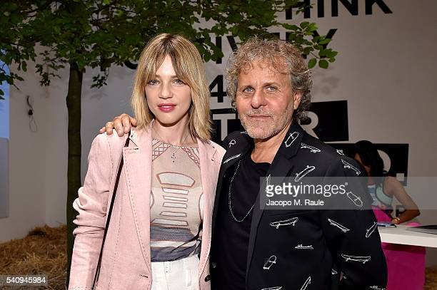 Gaia Trussardi and Renzo Rosso attend Renzo Rosso And OTB Launch 'Radical Renaissance 55+5' Book on June 17, 2016 in Milan, Italy.