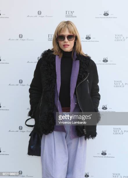 Gaia Trussardi attends 'Italiana. L'Italia Vista Dalla Moda 1971-2001' exhibition preview during Milan Fashion Week Fall/Winter 2018/19 at Palazzo...