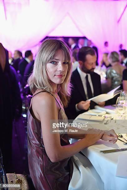 Gaia Trussardi attends the Milano Gala Dinner benefitting the Novak Djokovic Foundation presented by Giorgio Armani at Castello Sforzesco on...